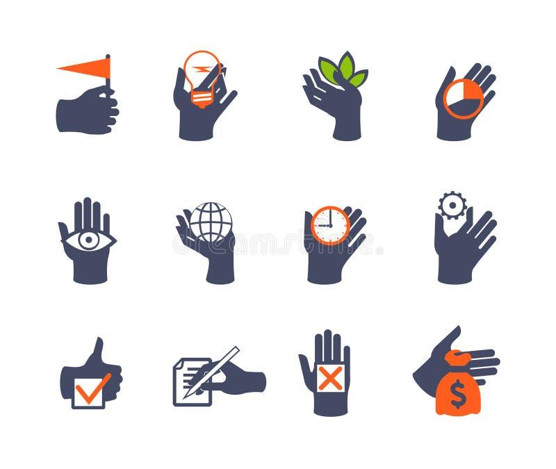 Ícone das mãos ajustado para o Web site ou a aplicação ilustração stock