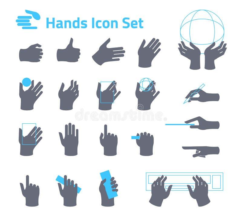 Ícone das mãos ajustado para o Web site ou a aplicação Projeto liso ilustração do vetor