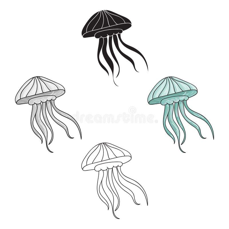 Ícone das medusas nos desenhos animados, estilo preto isolados no fundo branco Ilustra??o do vetor do estoque do s?mbolo dos anim ilustração stock