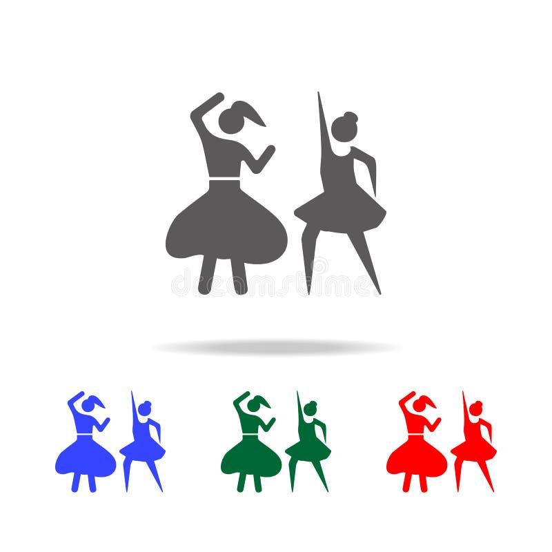 Ícone das meninas de dança Elementos de multi ícones coloridos da dança Ícone superior do projeto gráfico da qualidade Ícone simp ilustração royalty free