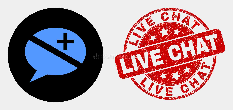 Ícone das mensagens da discussão do vetor e Live Chat Stamp riscado ilustração do vetor