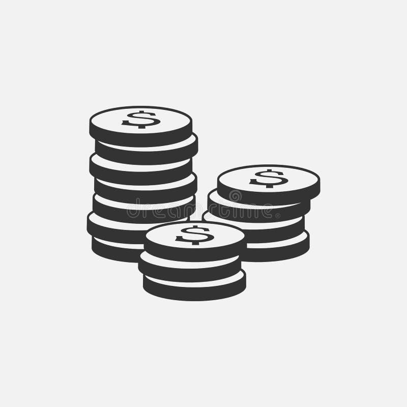 Ícone das moedas isolado no fundo cinzento Grupo do ícone do dinheiro Linha símbolo do dinheiro para o projeto da site ilustração royalty free
