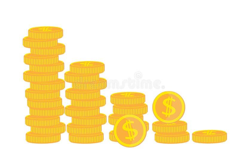 Ícone das moedas Moeda dourada Gráfico da renda Ilustração do vetor Isolado no fundo branco ilustração do vetor
