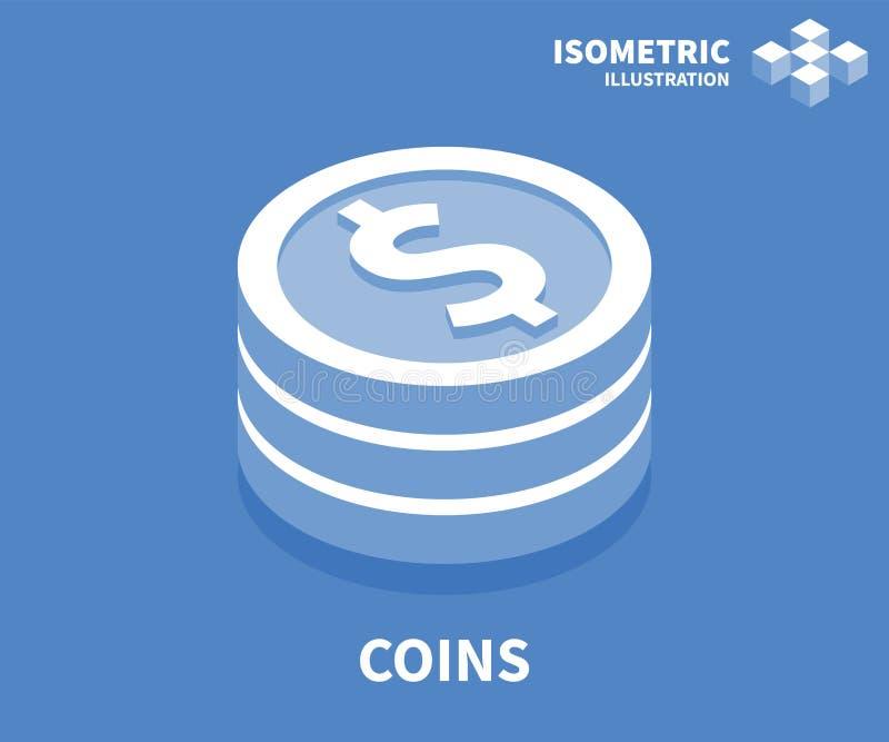 Ícone das moedas Molde isométrico para o design web no estilo 3D liso Ilustração do vetor ilustração do vetor