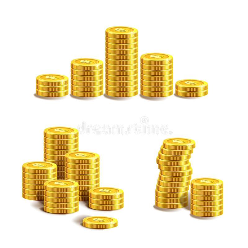 Ícone das moedas A pilha de moeda dourada gosta do gráfico da renda ilustração do vetor