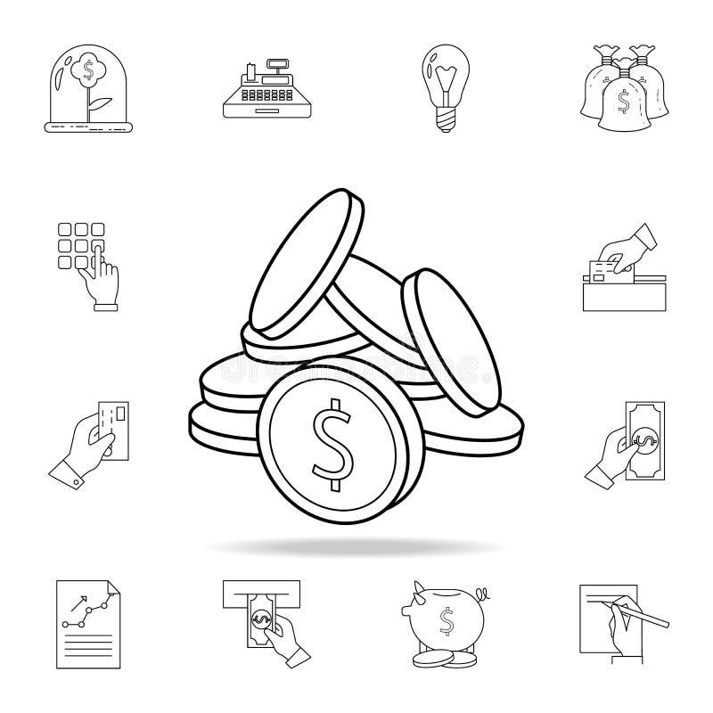 Ícone das moedas  Ícone superior do projeto gráfico da qualidade Um dos ícones da coleção para Web site, Web ilustração royalty free