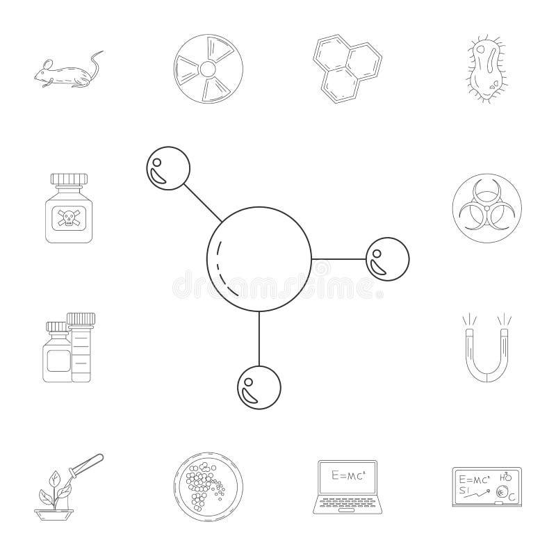 Ícone das moléculas Grupo detalhado de ilustrações da ciência e do laboratório Ícone superior do projeto gráfico da qualidade Um  ilustração stock