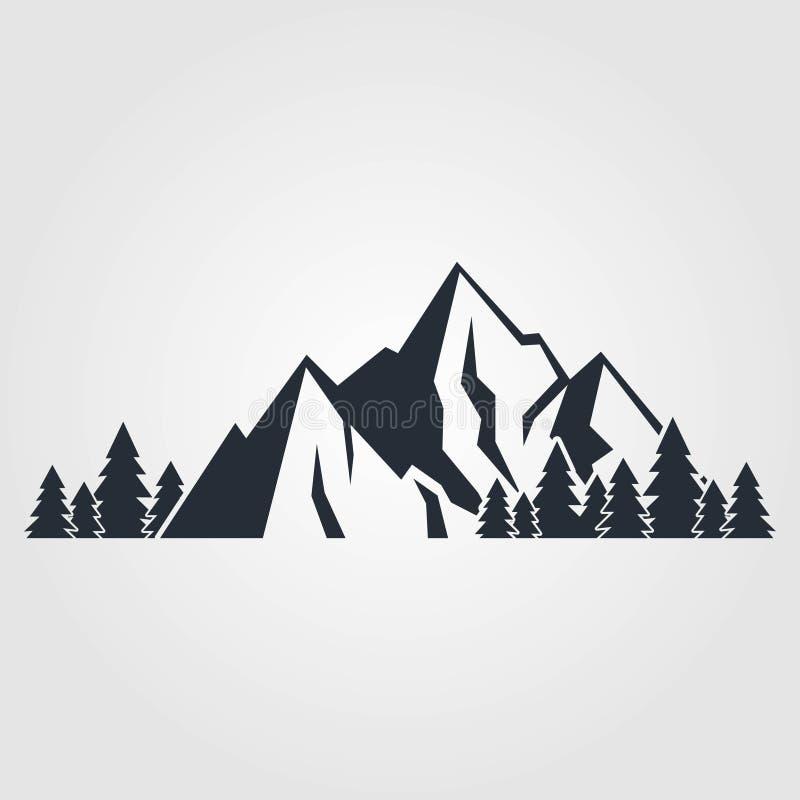 Ícone das montanhas isolado no fundo branco Ilustração do vetor ilustração royalty free