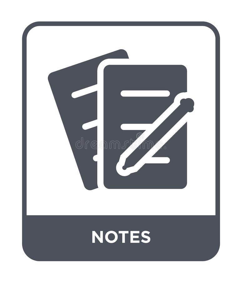 ícone das notas no estilo na moda do projeto Ícone das notas isolado no fundo branco símbolo liso simples e moderno do ícone do v ilustração stock