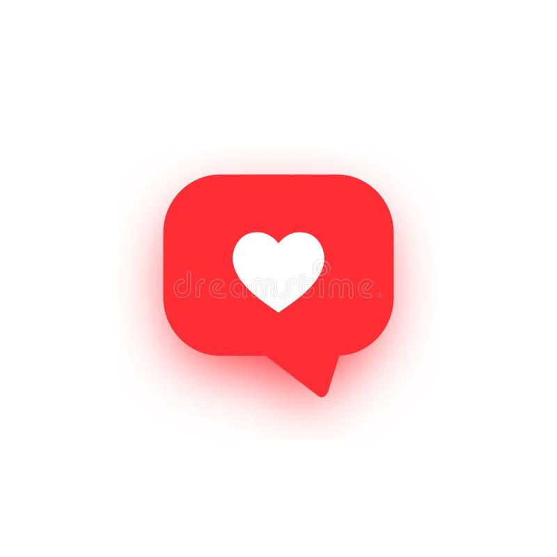 Ícone das notificações com sombra Como meios sociais do vetor do ícone como o vetor ilustração do vetor