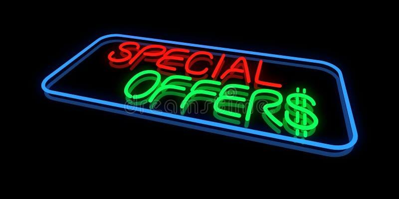 Ícone das ofertas especiais no sinal de néon ilustração royalty free