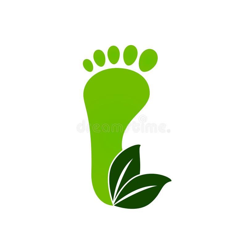 Ícone das pegadas do verde de Eco ilustração royalty free