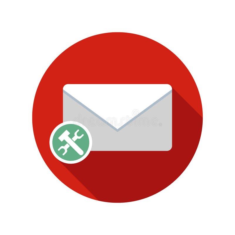 Ícone das preferências do correio Ícone do email com sombra longa ilustração royalty free