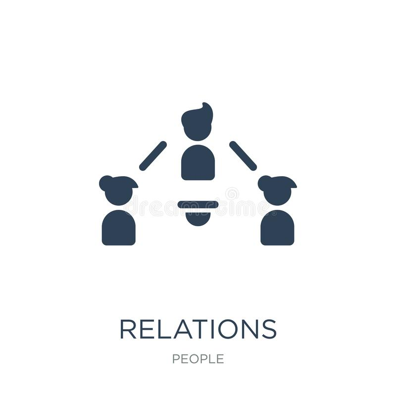 ícone das relações no estilo na moda do projeto ícone das relações isolado no fundo branco plano simples e moderno do ícone do ve ilustração royalty free