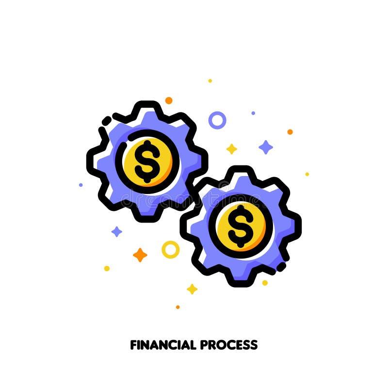 Ícone das rodas de engrenagem com sinal de dólar para o processo financeiro ou o ganho dinheiro do conceito em linha Estilo enchi ilustração royalty free
