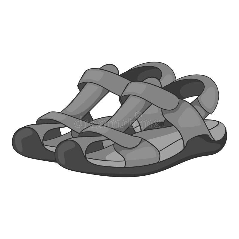 Ícone das sandálias, estilo monocromático ilustração do vetor