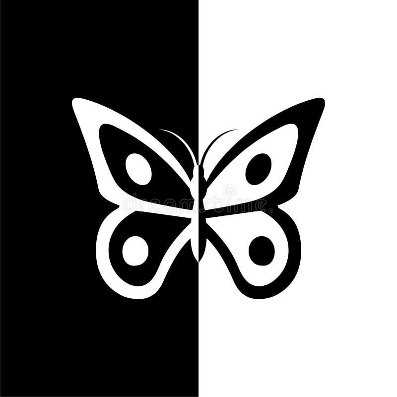 Ícone das silhuetas da borboleta, preto e branco ilustração royalty free