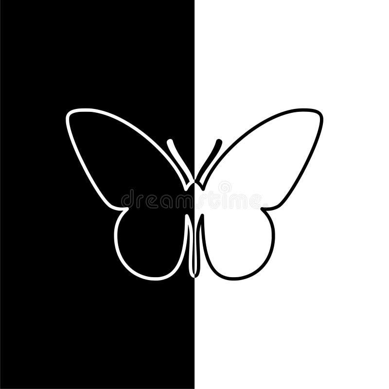 Ícone das silhuetas da borboleta, preto e branco ilustração stock