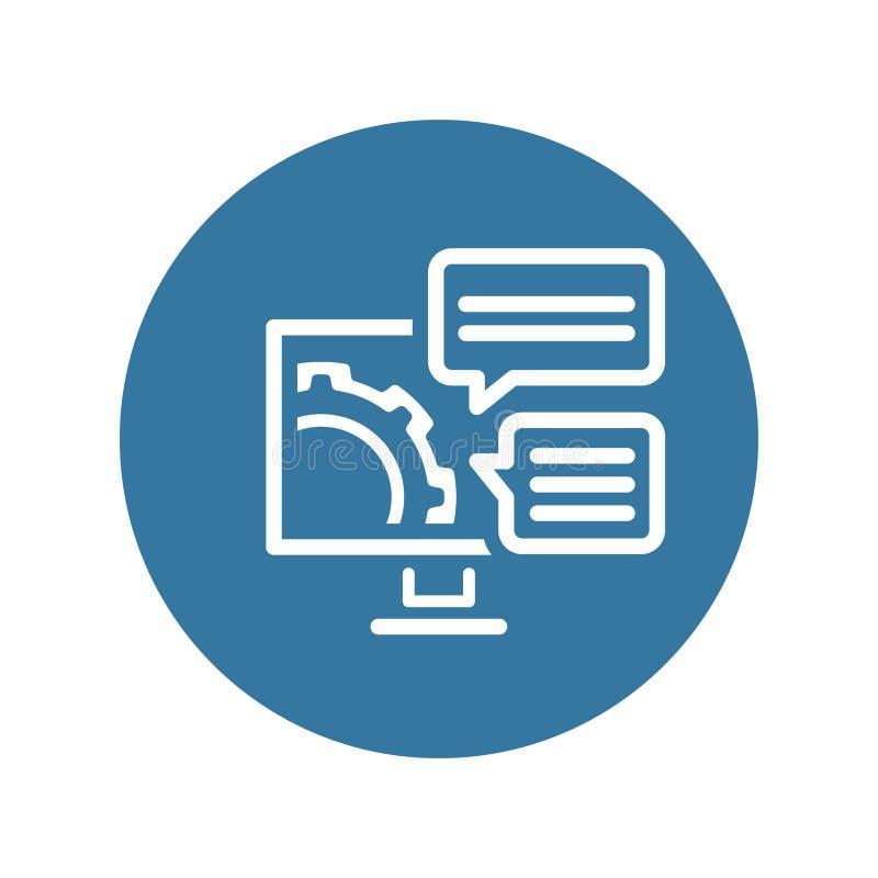 Ícone das soluções de engenharia Engrenagem e computador Símbolo do desenvolvimento ilustração stock