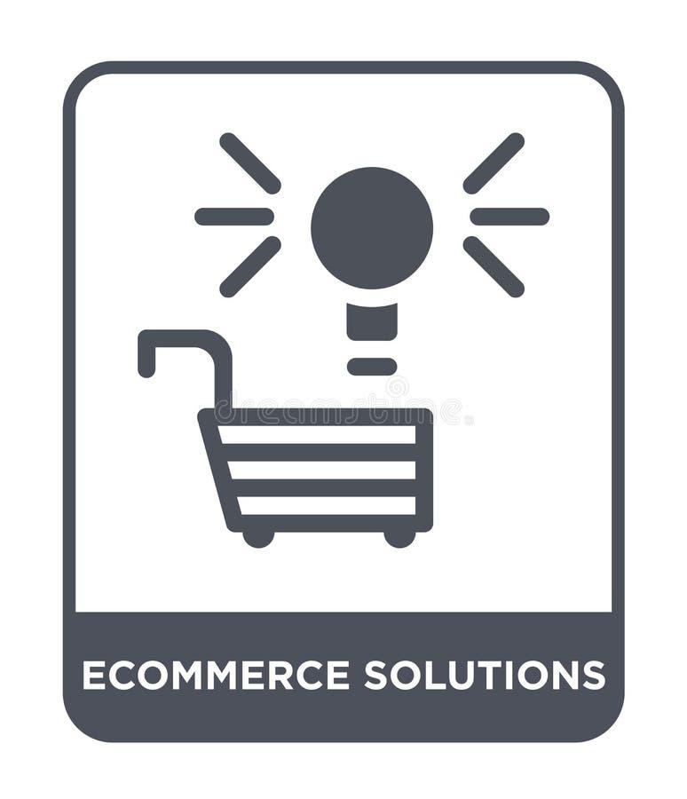 ícone das soluções do comércio eletrónico no estilo na moda do projeto ícone das soluções do comércio eletrónico isolado no fundo ilustração do vetor