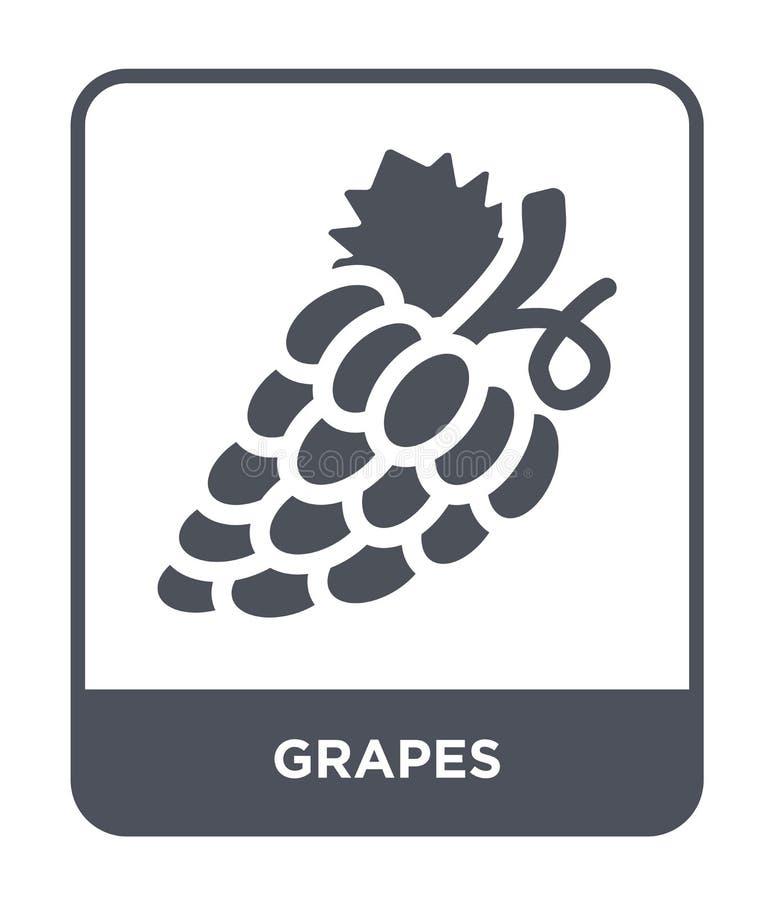 ícone das uvas no estilo na moda do projeto Ícone das uvas isolado no fundo branco símbolo liso simples e moderno do ícone do vet ilustração stock