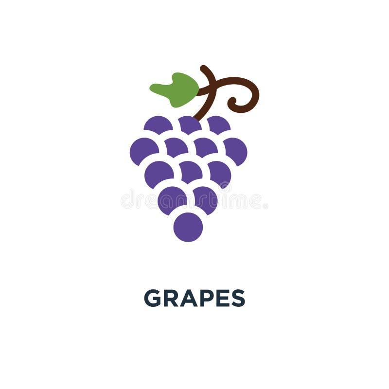 Ícone das uvas projeto do símbolo do conceito do fruto, mal do vetor do vinho da natureza ilustração stock