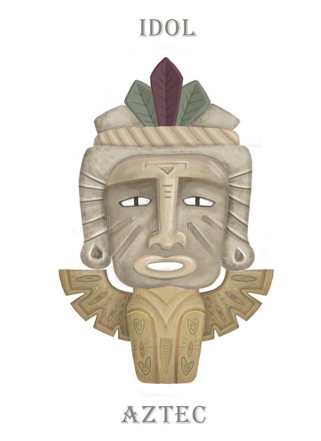Ícone de ídolo de madeira do Aztec hawaii Cartografia do ícone aztec hawaii no desenho da web isolada em fundo branco Cor d'água  ilustração royalty free