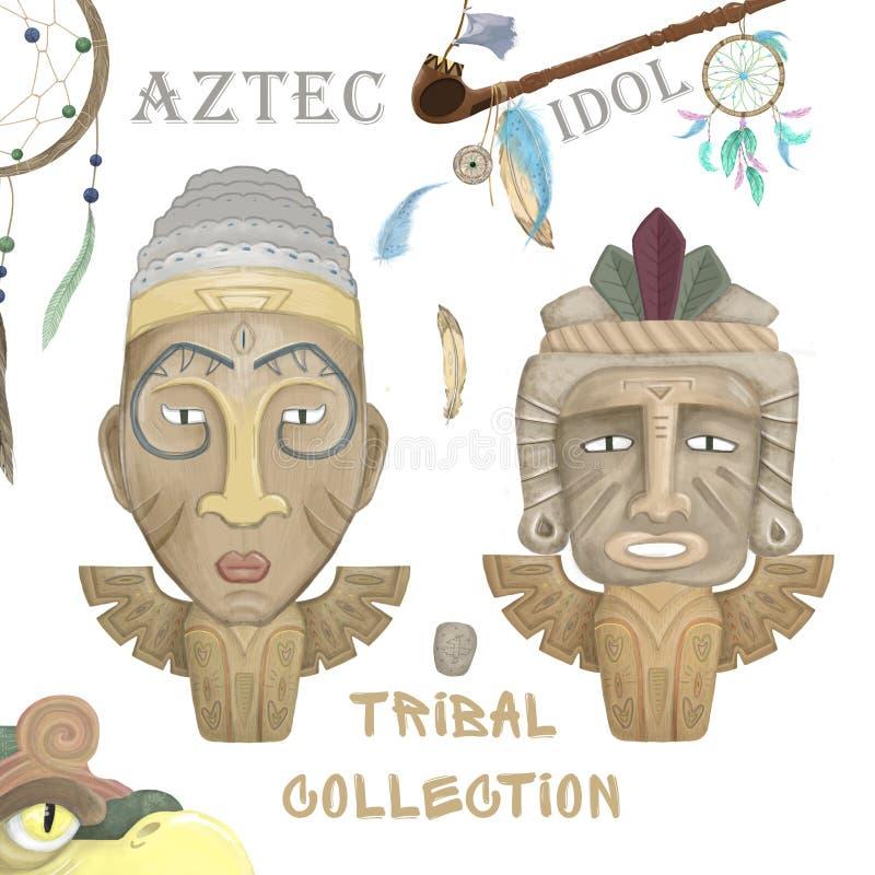 Ícone de ídolo de madeira do Aztec hawaii Cartografia do ícone aztec hawaii no desenho da web isolada em fundo branco Cor d'água  foto de stock royalty free
