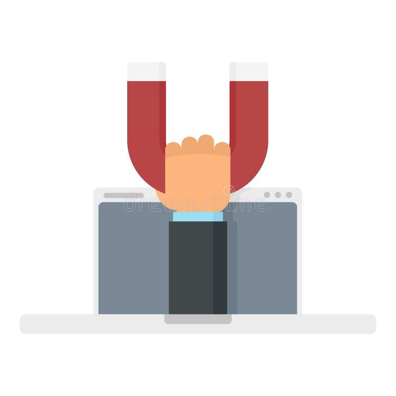 Ícone de ímã para portáteis, estilo plano ilustração stock