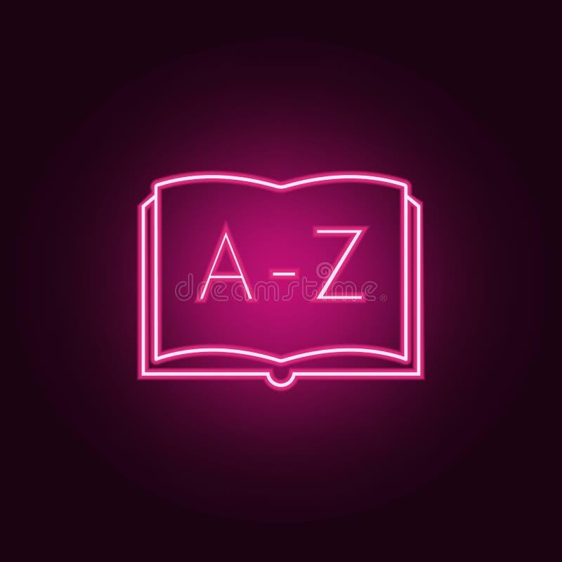 Ícone de ABC Elementos dos livros e dos compartimentos nos ícones de néon do estilo Ícone simples para Web site, design web, app  ilustração do vetor