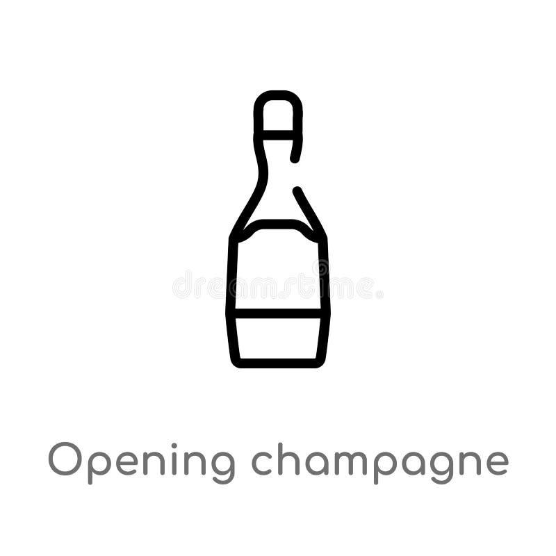 ícone de abertura do vetor da garrafa do champanhe do esboço linha simples preta isolada ilustração do elemento do conceito do pa ilustração stock
