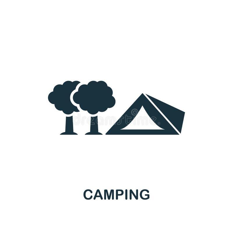 Ícone de acampamento Projeto criativo do elemento da coleção dos ícones do turismo Ícone de acampamento perfeito para o design we ilustração royalty free