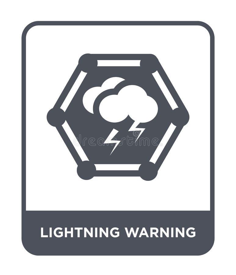 ícone de advertência do relâmpago no estilo na moda do projeto Ícone de advertência do relâmpago isolado no fundo branco ícone de ilustração do vetor