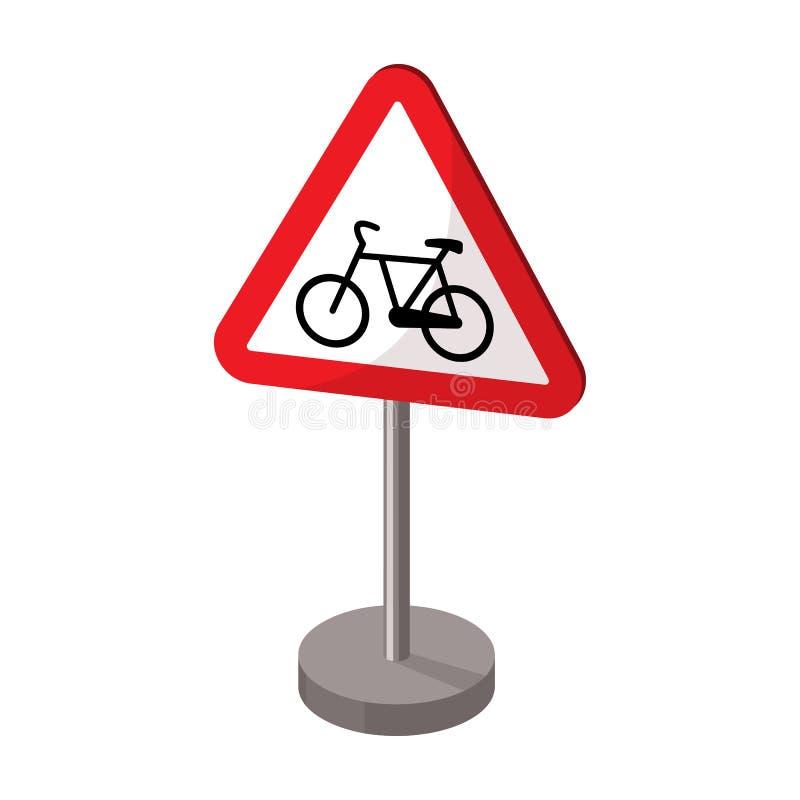 Ícone de advertência do sinal de estrada no estilo dos desenhos animados isolado no fundo branco Ilustração do vetor do estoque d ilustração royalty free