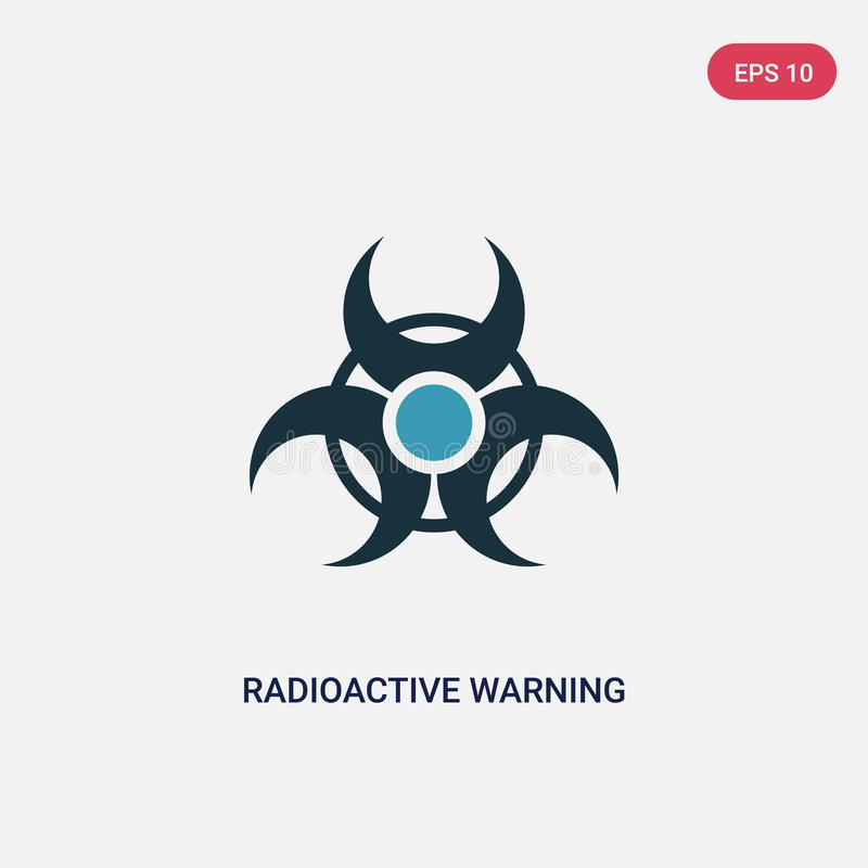 Ícone de advertência radioativo de duas cores do vetor do conceito dos sinais o símbolo de advertência radioativo azul isolado do ilustração stock