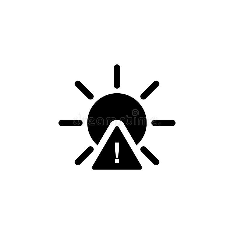 Ícone de advertência de Sun Elemento da ilustração do tempo Os sinais e os símbolos podem ser usados para a Web, logotipo, app mó ilustração stock