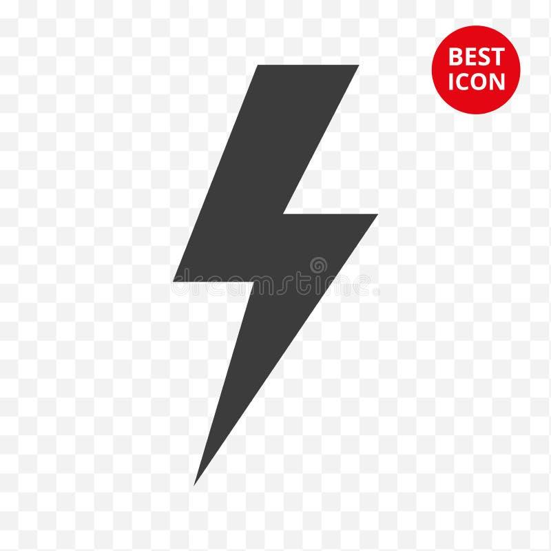 ícone de advertência Vetor do relâmpago Símbolo isolado cuidado Crachá da tecnologia do esboço Para a proibição elétrica do sinal ilustração stock