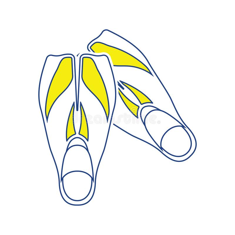 Ícone de aletas da natação ilustração stock
