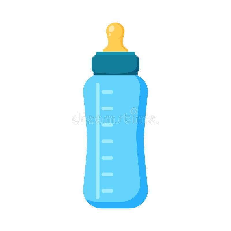 Ícone de alimentação da garrafa de bebê Ilustração lisa do ícone do vetor da garrafa ilustração stock