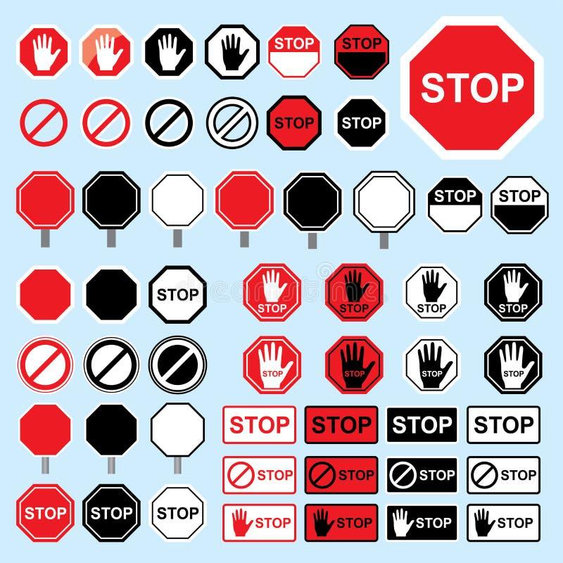 Ícone de alta qualidade do símbolo do sinal da parada Símbolo de advertência do perigo que proibe o sinal no vetor do fundo ilustração do vetor