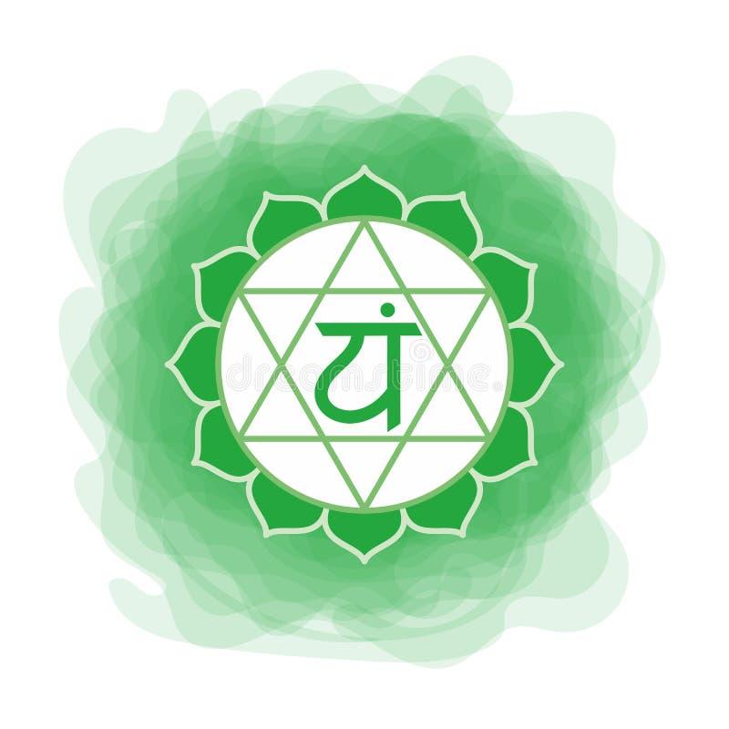 Ícone de Anahata O quarto chakra do coração Círculo fumarento do verde do vetor Linha símbolo Sinal sacral meditation ilustração do vetor