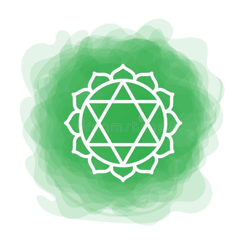 Ícone de Anahata O quarto chakra do coração Círculo fumarento do verde do vetor Linha símbolo Sinal sacral meditation ilustração royalty free