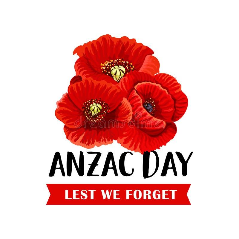 Ícone de Anzac Remembrance Day com a flor vermelha da papoila ilustração do vetor
