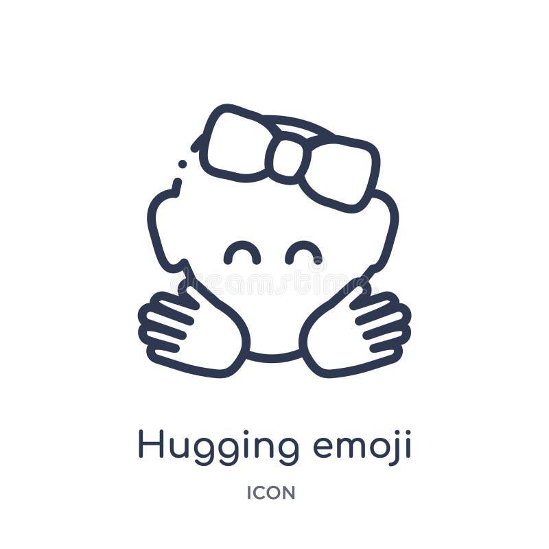 Ícone de aperto linear do emoji da coleção do esboço de Emoji Linha fina que abraça o vetor do emoji isolado no fundo branco Aper ilustração stock