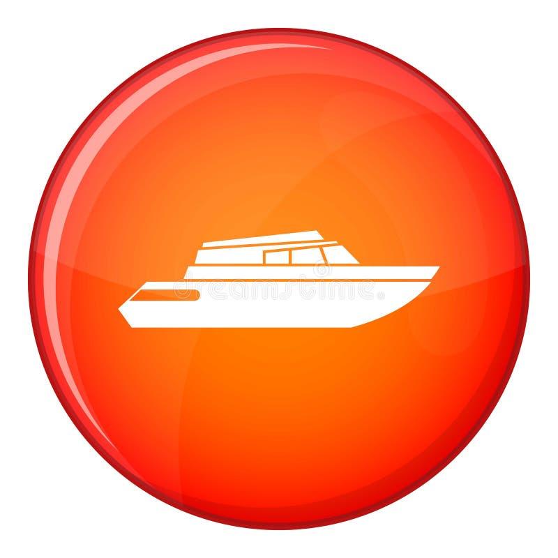 Ícone de aplanamento do powerboat, estilo liso ilustração do vetor