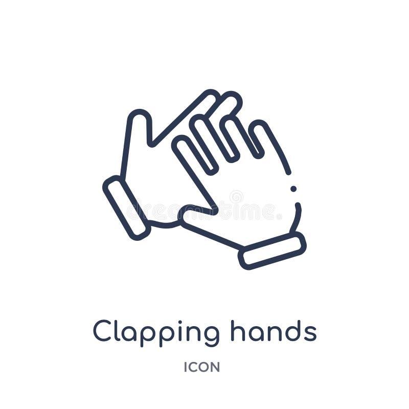 Ícone de aplauso linear das mãos das mãos e da coleção do esboço dos guestures Linha fina ícone de aplauso das mãos isolado no fu ilustração do vetor