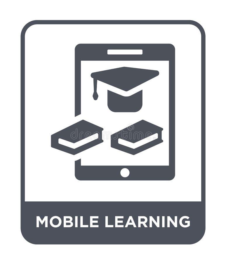 ícone de aprendizagem móvel no estilo na moda do projeto ícone de aprendizagem móvel isolado no fundo branco ícone de aprendizage ilustração do vetor