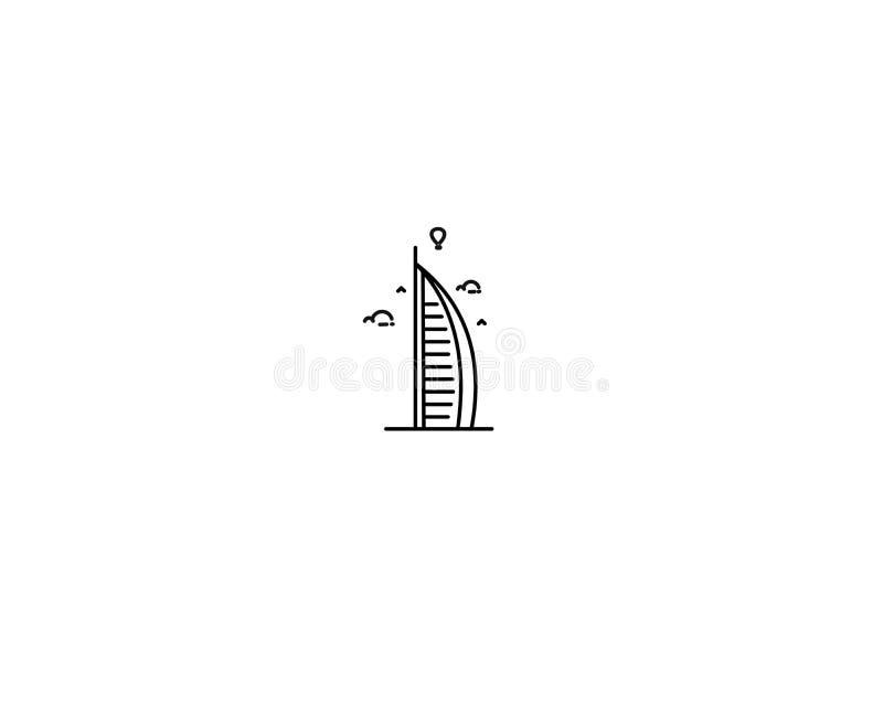 Ícone de Arte em Linha Plana de Dubai Burj Al Arab ilustração do vetor