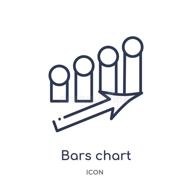 ícone de ascensão da relação da carta de barras da coleção do esboço da interface de usuário Linha fina ícone de ascensão da rela ilustração royalty free