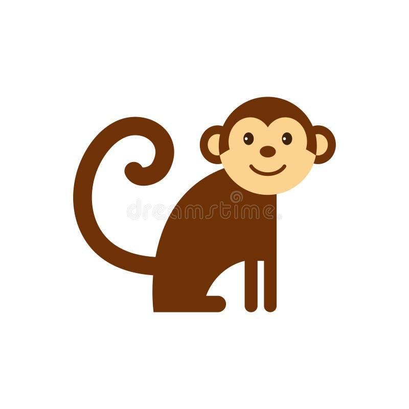 Ícone de assento dos desenhos animados do macaco bonito Desenho da ilustração do vetor de um macaco em um fundo branco ilustração do vetor